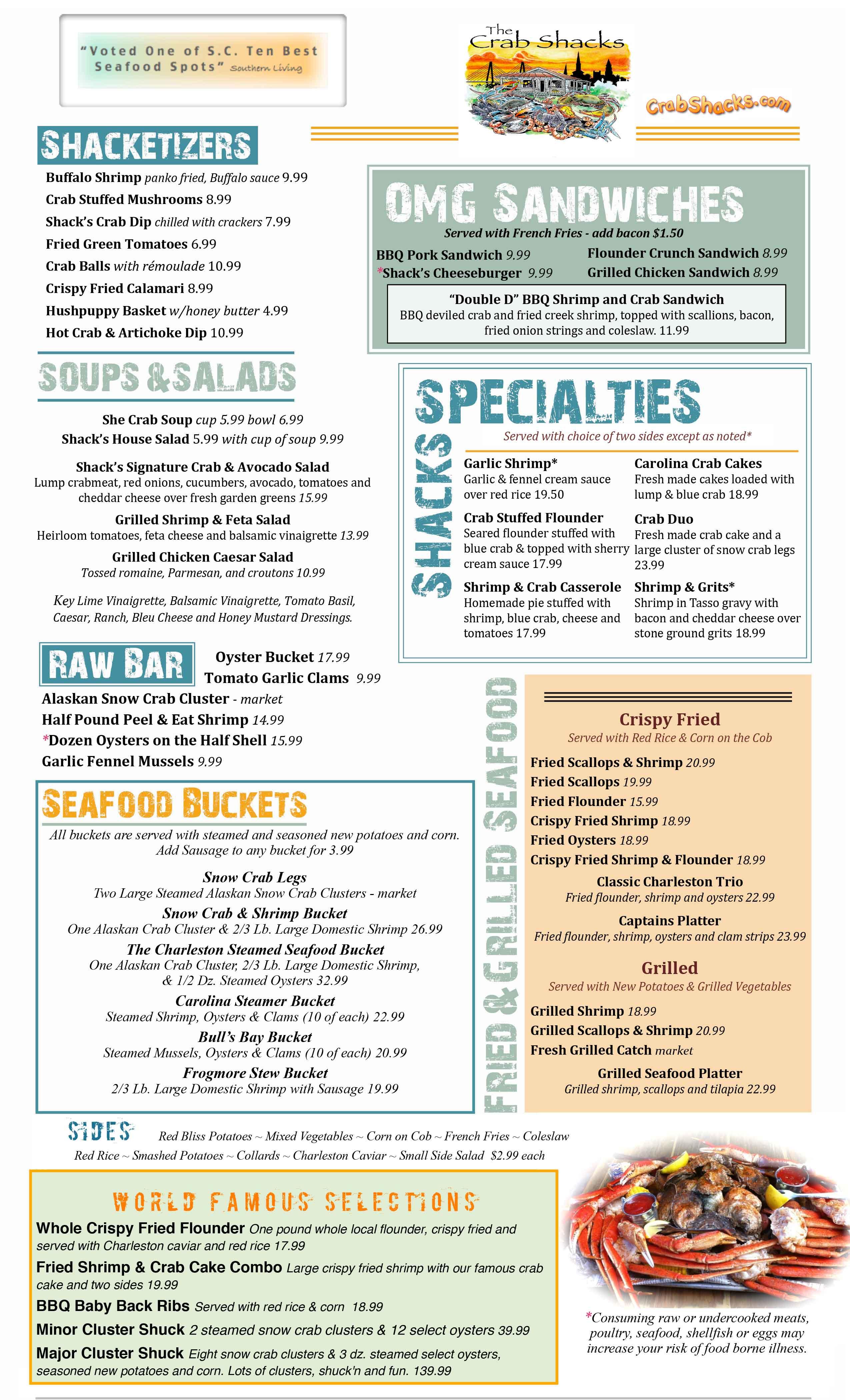 Crab Shacks Menu Local Seafood Restaurant